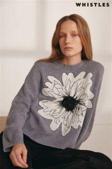 Szary sweter Whistles z nadrukiem kwiatowym
