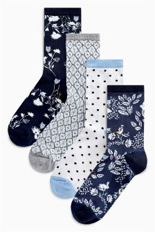 Floral Pattern Ankle Socks Four Pack