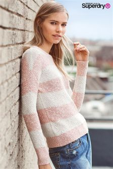 Superdry Blush/Cream West Textured Stripe Knit