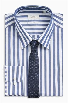 Bold Stripe Slim Fit Shirt And Tie Set