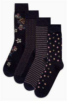 Floral Mixed Pattern Socks Four Pack