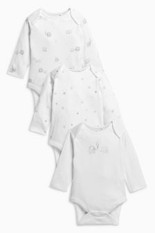 Delicate Elephant Long Sleeve Bodysuits Three Pack (0-12mths)