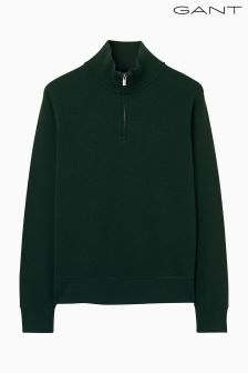 Gant Green Sacker Rib Half Zip Knit