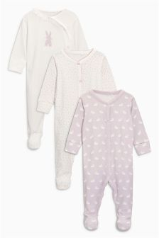 Bunny Sleepsuits Three Pack (0mths-2yrs)