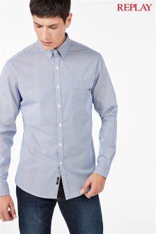 Синяя рубашка с принтом Replay®