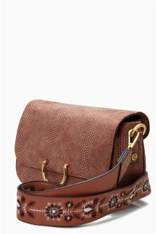 Embroidered Strap Across-The-Body Bag