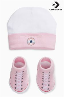 Converse Pink Hat And Bootie Set