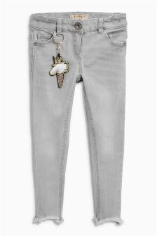 Frayed Hem Jeans With Keyring (3-16yrs)