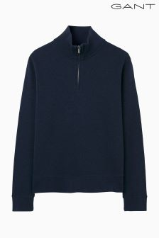 Gant Blue Sacker Rib Half Zip Knit