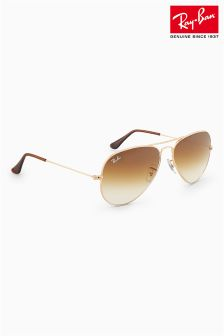 Ray-Ban® Rose Gold Lens Aviator Sunglasses