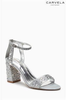 Carvela Silver Gigi Embellished Heel Sandal