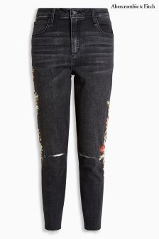 Abercrombie & Fitch Black Embroidered Skinny Jean