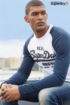 Superdry Navy/White Vintage Logo Raglan Long Sleeve Tee