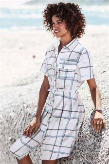Linen Blend Midi Shirt Dress
