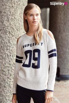 Superdry Cream Varsity Cold Shoulder Knit