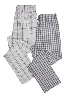 Check Woven Long Bottoms Two Pack