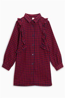 Check Ruffle Longline Shirt (3-16yrs)