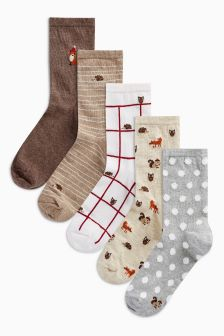 Woodland Animal Ankle Socks Five Pack