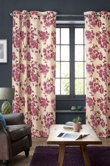 Plum Wild Bloom Eyelet Curtains