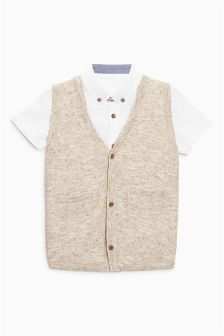 Knitted Waistcoat And Shirt Set (3mths-6yrs)