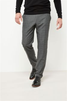 Textured Check Slim Fit Suit: Trousers