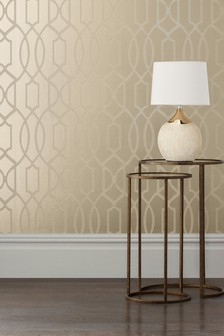 Paste The Wall Champagne Surface Print Lattice Geo Wallpaper