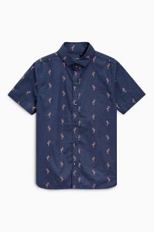 Short Sleeve Flamingo Geo Print Shirt (3-16yrs)