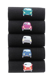 Car Embroidered Socks Five Pack