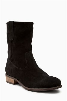 Leather Slouch Ankle Boots