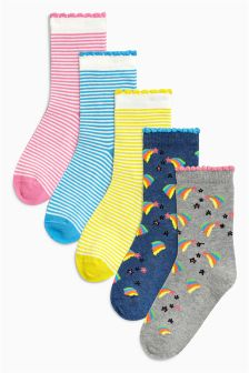 Rainbow Stripe Socks Five Pack (Older Girls)