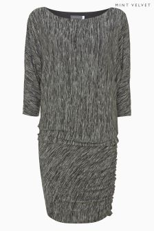 Mint Velvet Grey Print Batwing Cowl Jersey Boxy Dress