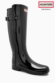 Hunter Original Black Gloss Refined Back Strap Tall Welly