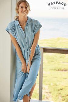 Fat Face Blue Anna Midi Shirt Dress
