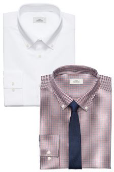 Gingham And White Regular Fit Shirts With Tie Two Pack