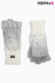 Superdry Grey White Ombre Clarrie Cable Knit Gloves