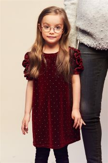 Velour Studded Dress (3-16yrs)
