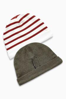 Bear Print Beanie Hats Two Pack (0-18mths)