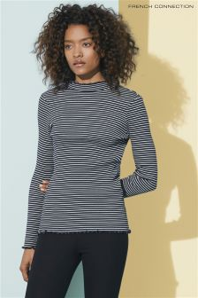 French Connection Blue/Cream Tim Tim Stripe High Neck Top