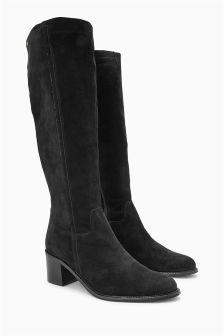 Suede Long Block Heel Boots