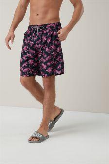 Palm Tree Longer Length Swim Shorts