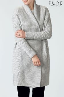 Pure Collection Grey Luxury Cashmere Cocoon Cardigan