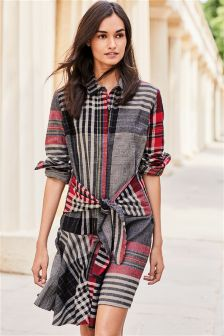 Tie Waist Check Dress