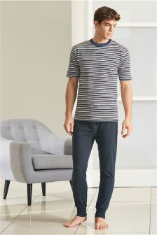 Marl Stripe Jersey Cuffed Set