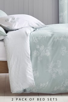 2 Pack Teal Floral Bed Set