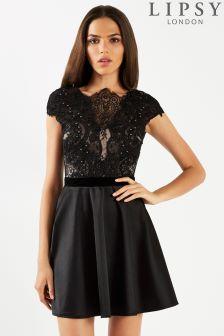 Короткое приталенное платье с кружевным верхом и искусственным жемчугом Lipsy