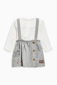 Cat Braces, Skirt And Blouse Set (3mths-6yrs)