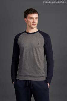 French Connection Charcoal/Navy Long Sleeve Classic Raglan Crew