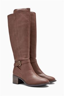 Zip Block Heel Long Boots