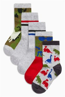 Dino Socks Five Pack (Younger Boys)