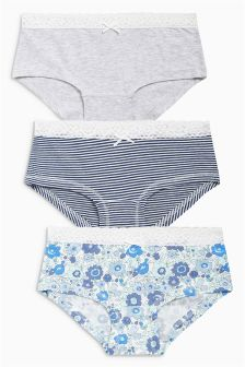 Floral Hipsters Three Pack (3-16yrs)